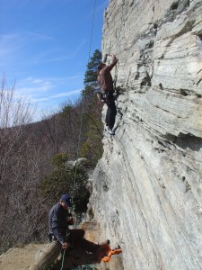 Steve on Big Erector 5.9, Sauratown (Chris Sproul belaying)