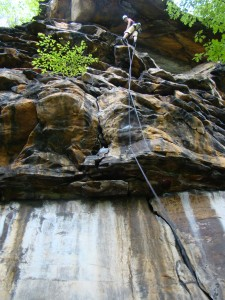 Setting up the rappel on Pancakes