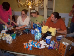 Packing Toiletry Kits for Urban Ministries of Durham