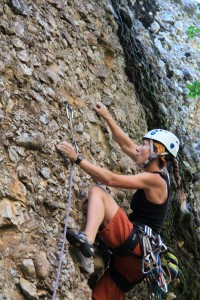 Monkey Nuts, our first climb at Maple