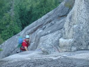 Steve securely swimming in a sea of slab on Deidre (5.8) in Squamish, British Columbia