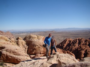 Viewpoint of Red Rock Canyon as well as Downtown Vegas from the Calico Tank Trail