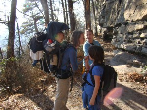 Christine, Jean, and Mary get ready to hike out, while Finn takes the easy way out :)