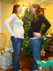 Megan and I comparing bellies!