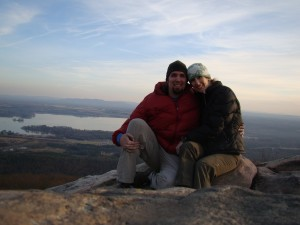 Enjoying an Alabama sunset from the top of a pillar - great view of Weiss Lake!