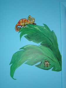 Close-up of leaves above changing table