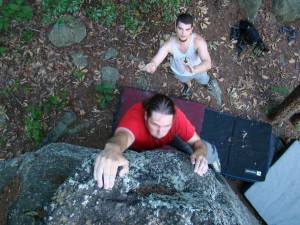 First time bouldering at the Dixon School Rd Boulders in Gastonia, NC, early July