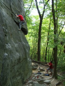 "Steve warming up on ""New River Gunks"", 5.7"